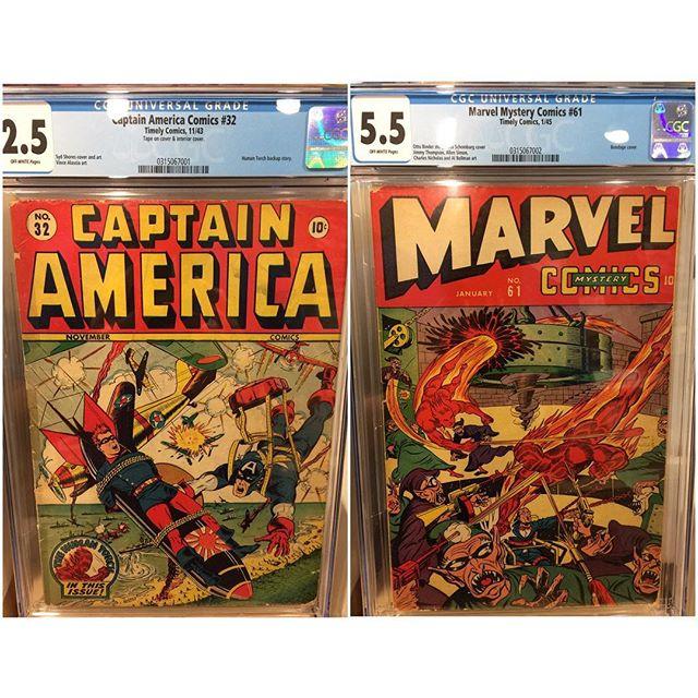 Just in from #cgc #captainamericacomics 32 and #marvelmysterycomics 61 #schomburg cover #bondagecover #igcomicfamily #igcomics #goldenagecomics #timelycomics #captainamerica