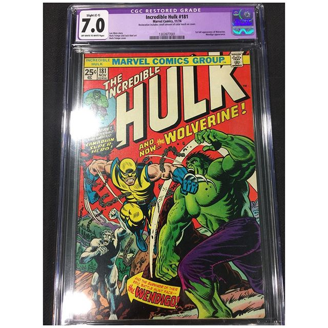 Recently picked up a #cgc Hulk #181 1st full appearance of #wolverine Slight restoration with a small amount of color touch on cover. Still looks to be a beautiful copy with great eye appeal!  #hulk #hulkvswolverine #igcomics #igcomicfamily