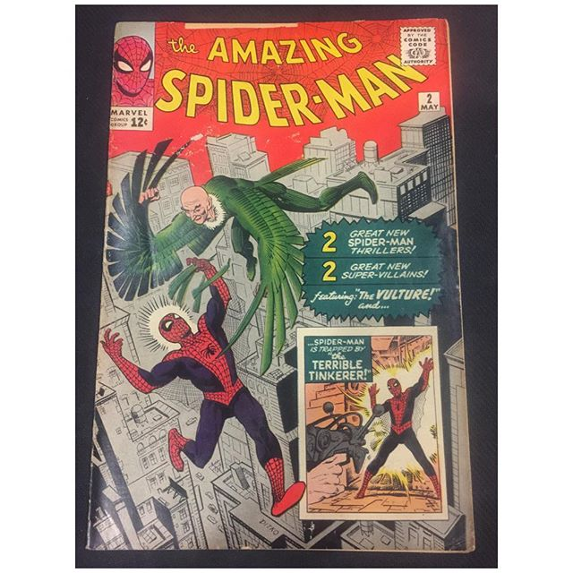 Just came through the shop!  Amazing Spider-Man #2 G/VG 3.0 copy complete & unrestored. 2 inch spine split top. No loose pages. Can be pressed. 1st Vulture. Please DM for back cover pic and pricing #forsale #amazingspiderman #spiderman #igcomicfamily #igcomics #vulture