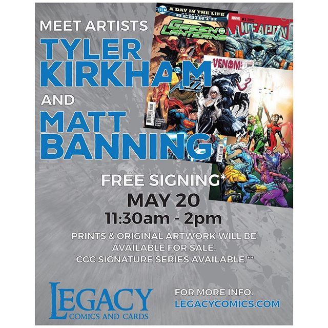 Come on by Sunday May 20th and meet Tyler Kirkham & Matt Banning for a free signing!  We will have a large selection of KRS Tyler Kirkham variants for you to get signed along with DC comics from both Matt and Tyler to get CGC signatures!#tylerkirkham #mattbanning #batt #krscomics #dc #dccomics #cgcsignatureseries
