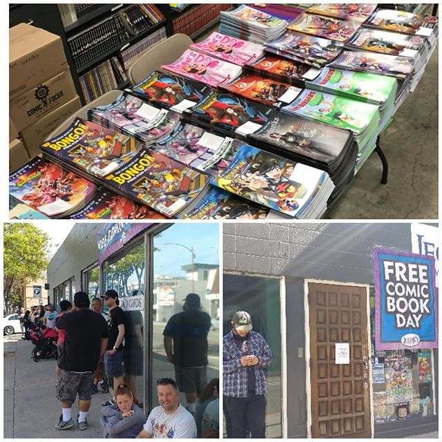 Let's get these Free comics to the people!  We are open!  These fine folks are all getting 25+ #fcbd comics per person!  #freecomicbookday