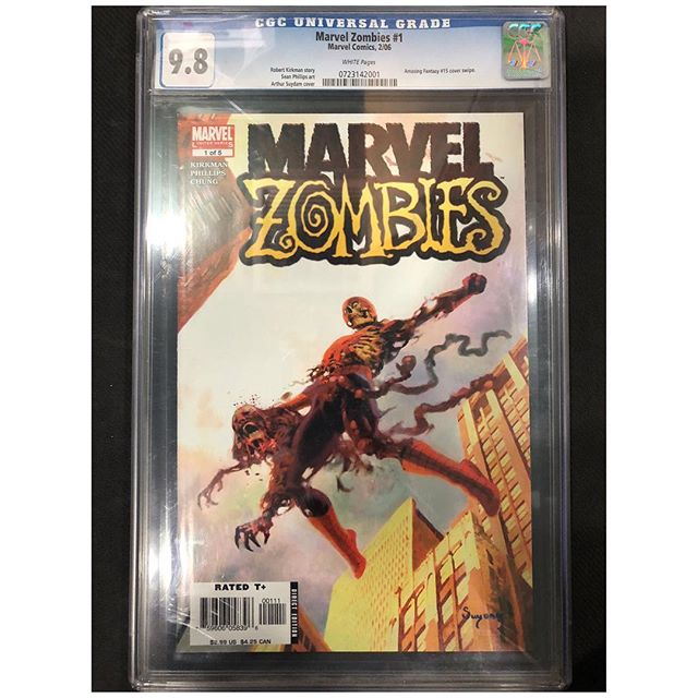 Robert Kirkman's zombie superhero series stoked the flames of the zombie craze to unprecedented heights!  But these awesome Arthur Suydam covers had to have helped!  What a great cover swipe of AF15!  This 1st print is for sale. Please DM us for pricing. #walkingdead #marvelzombies #amazingfantasy15 #arthursuydam #robertkirkman #igcomicfamily #igcomics