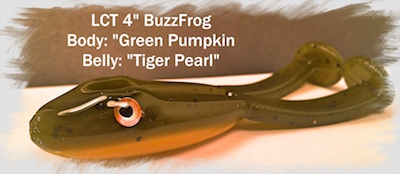 LCT 4.0 BuzzFrog Green Pumpkin body Tiger Pearl Belly 400x174