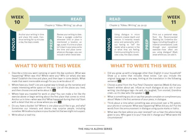 Hali'a Aloha Micro Memoir Workbook sample pages
