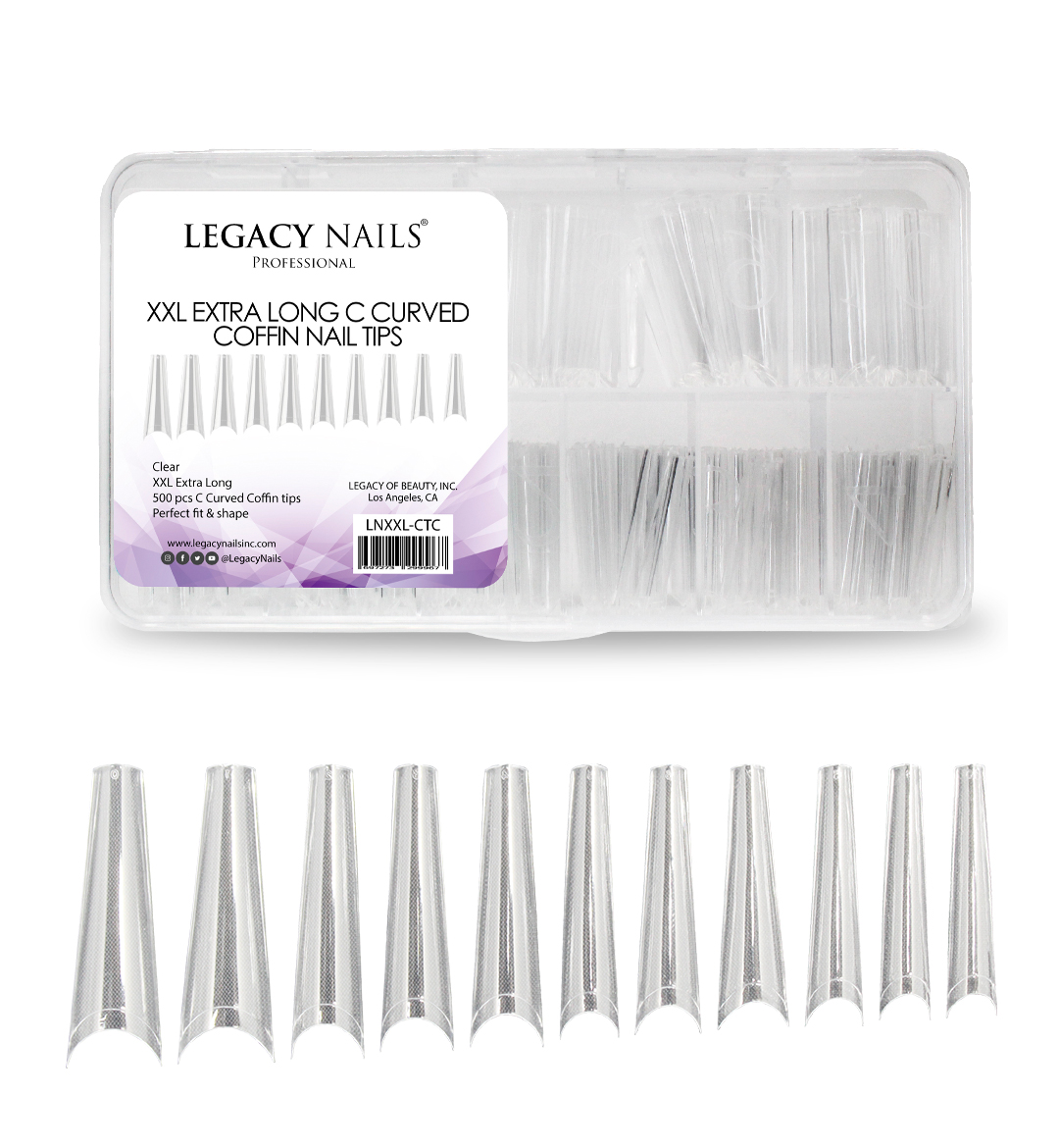 xxl extra long c curved coffin nail tips