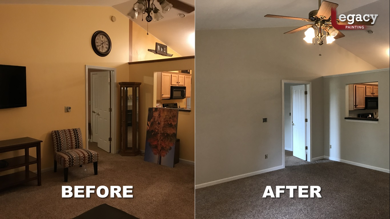 home interior painting - before and after - franklin indiana
