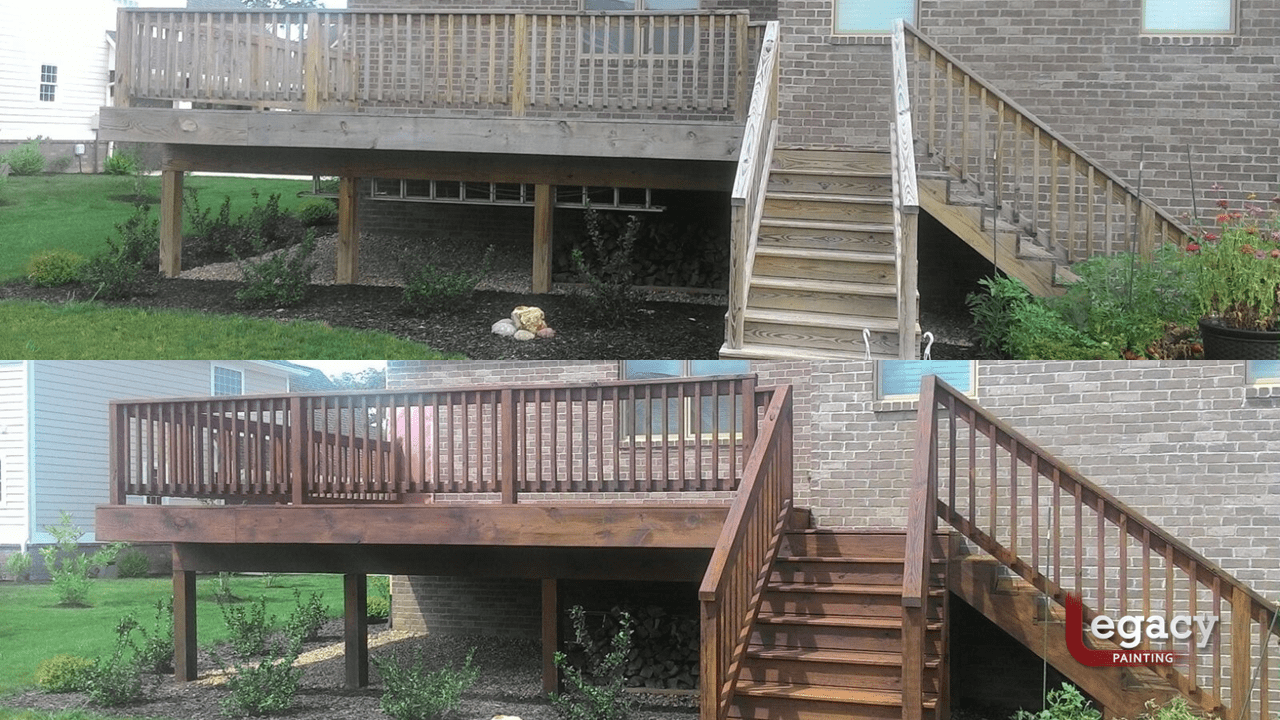 deck staining before and after - sikkens teak