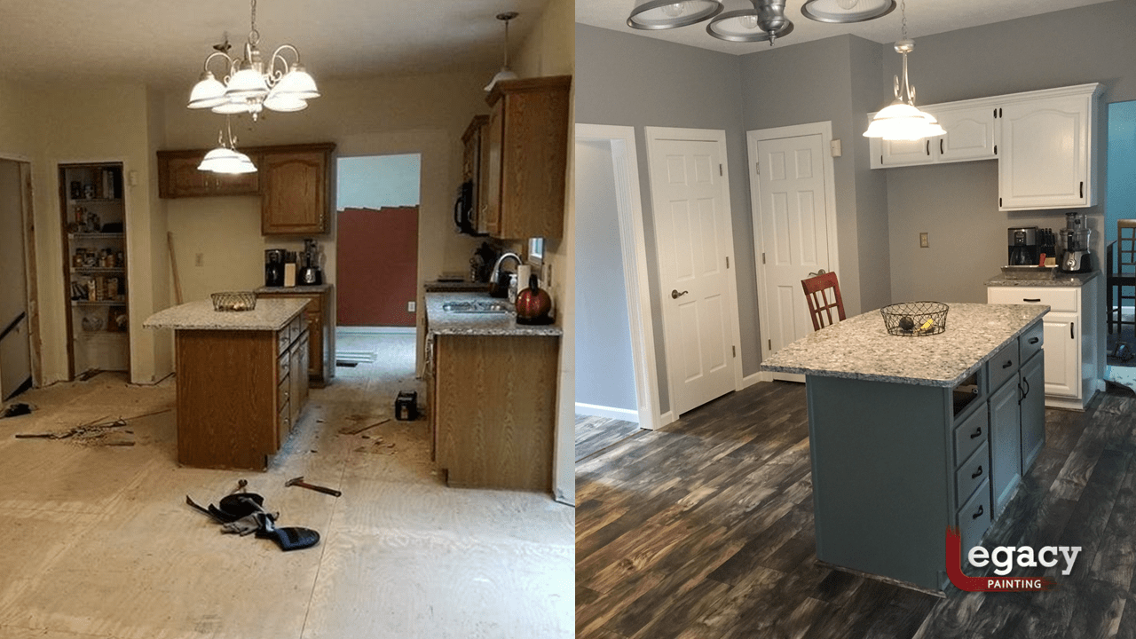 kitchen interior painting before and after