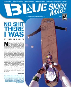 """Blue Skies Magazine i40: February 2013   Making Old Skool Cool. Red Bull Air Force jumper Jeff Provenzano hadn't seen Stefan Klaus or a sky surf board in years, but both showed up one day in Eloy, Arizona. A mirror glued to the bottom of the board and """"Bam there it is. Pretty weird seeing a full-body reflection of yourself in freefall. I could not help but laugh.""""   blueskiesmag.com"""