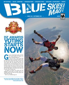 Blue Skies Magazine i46: September 2013   Soul Flyers Vincent Reffet and Fred Fugen busting a few moves above Skydive Empuriabrava in Spain. Photo by Rolf Kuratle, EAA.   blueskiesmag.com