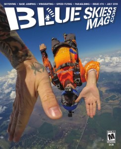 Blue Skies Magazine i79: July 2016   Photographer Guru Khalsa gives Ben Nelson a high-five above Skydive Spaceland-Houston in Rosharon, Texas.   https://blueskiesmag.com all rights reserved