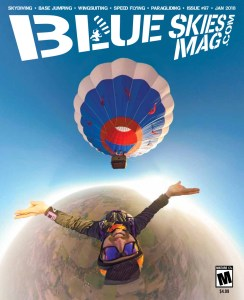 Blue Skies Magazine i97: January 2018   On the cover: Kelly Winegar launches from a balloon a couple miles downwind of Skydive Allegan in Michigan.   https://blueskiesmag.com/project/i97-january-2018