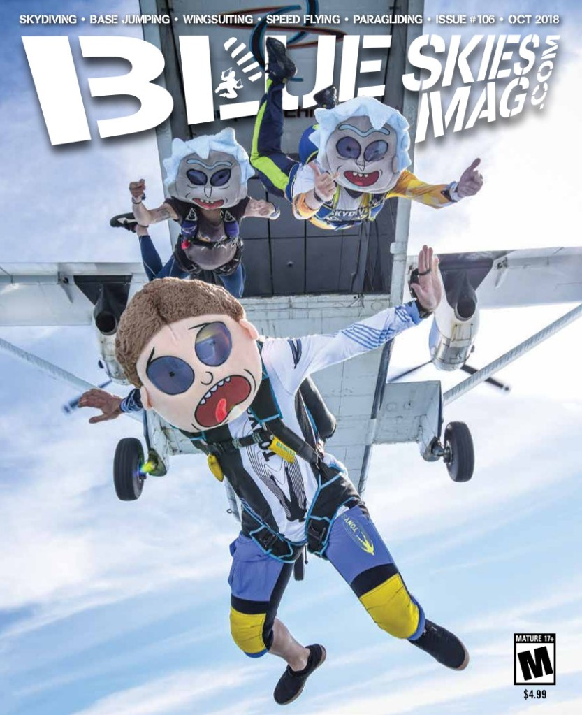 Blue Skies Mag i106: October 2018 | On the cover: Rick and Morty jump with Colin Phi Andrew (front), Polina Bulgakova (left) and Zej Mski (right). Photo by Łukasz Szymański www.czaplaphotography.com | https://blueskiesmag.com/project/i106-october-2018