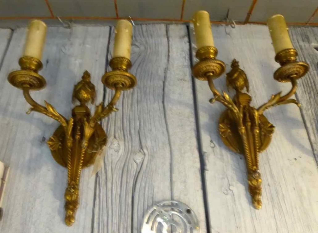 IC0868 - Antique Brass Wall Sconces - Prop Rental Only ... on Non Wired Wall Sconces id=15794