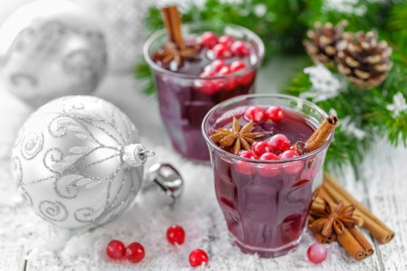 holiday drinks and decorations