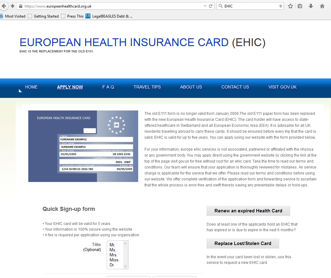 Renew Ehic Card Uk >> Copycat and third party Websites • LegalBeagles.info