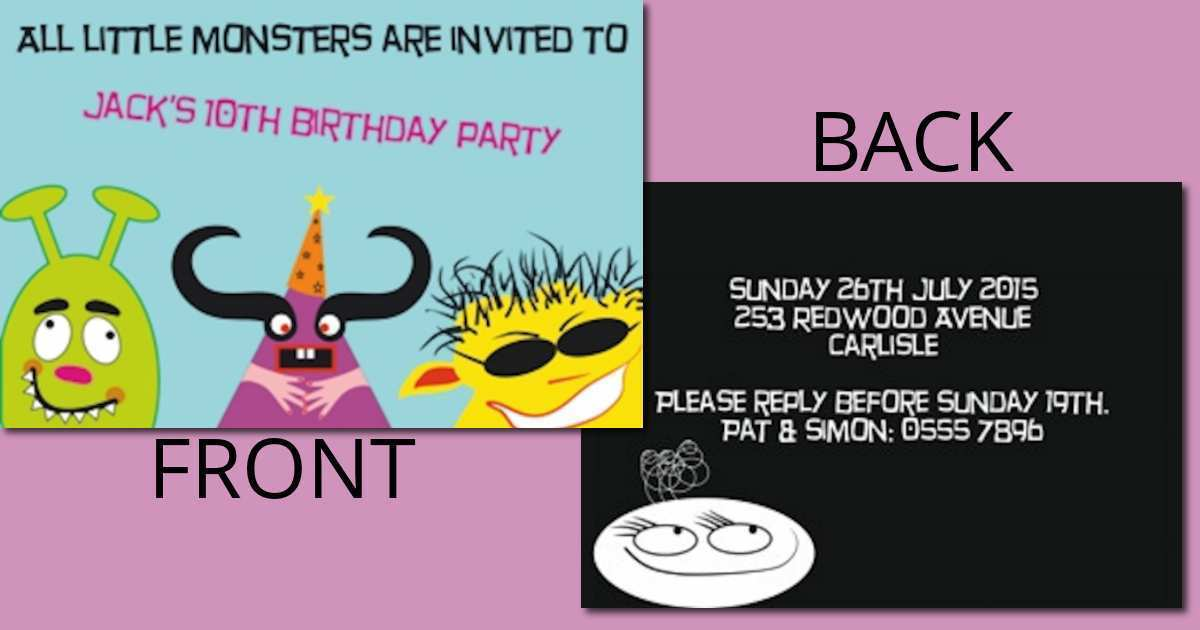 42 blank birthday invitation card