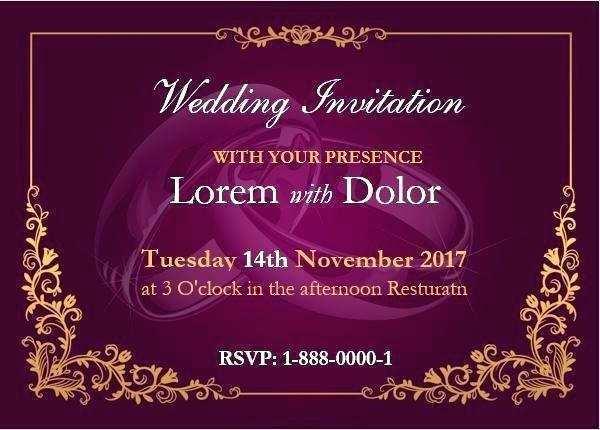 invitation card template on word