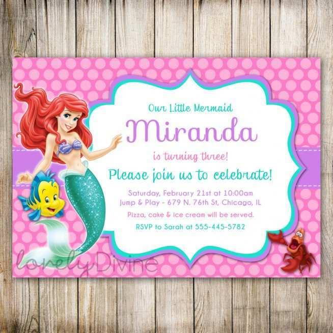 ariel birthday invitation template