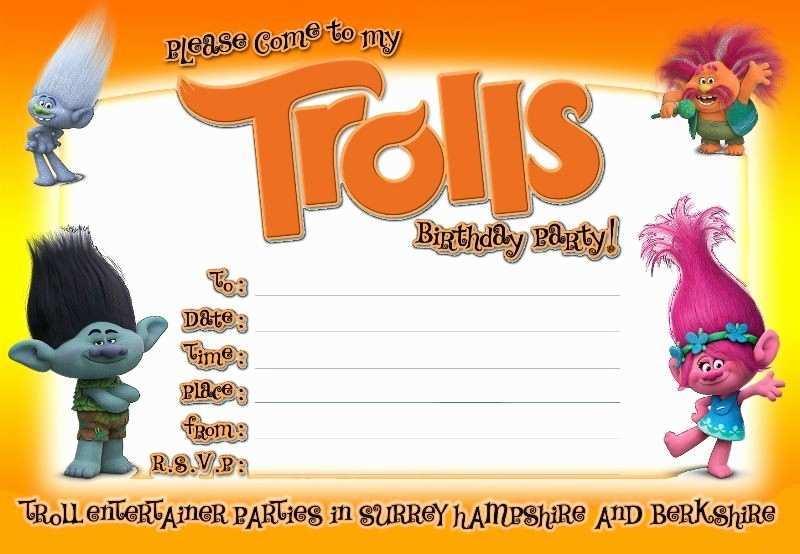 trolls birthday invitation template