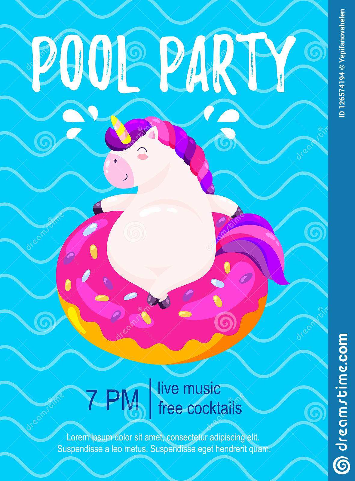 unicorn pool party invitation template