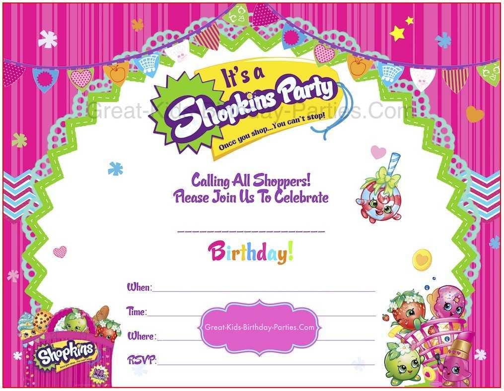 35 online shopkins birthday invitation