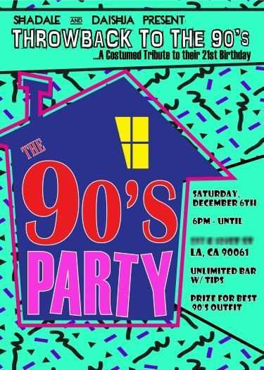 free 90s party invitation template