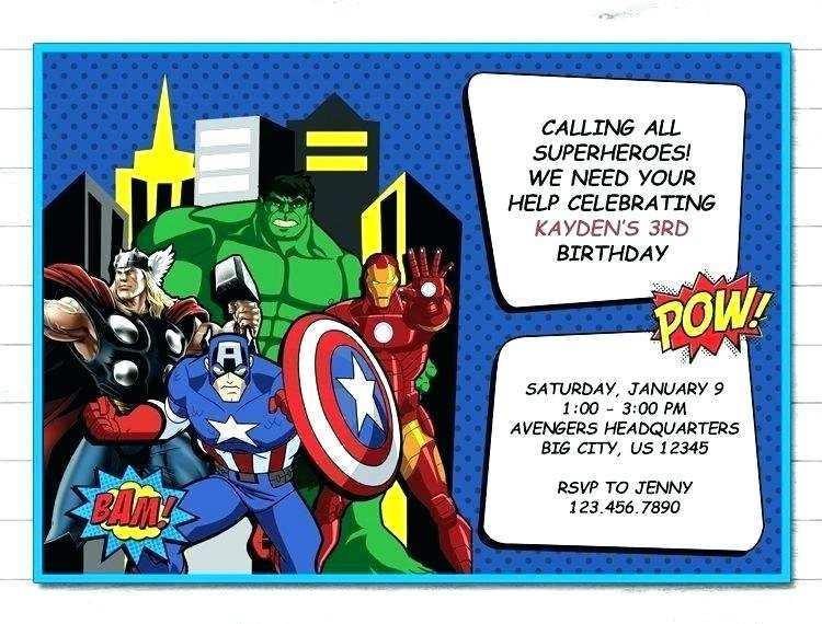 51 blank avengers birthday invitation