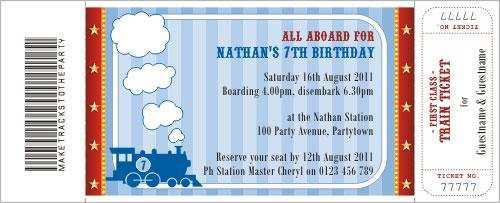 birthday invitation template train