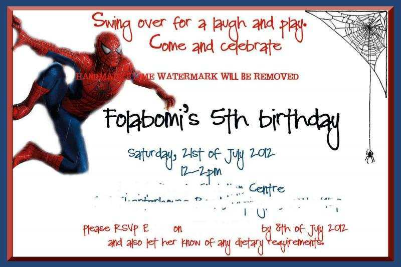 birthday invitation template spiderman