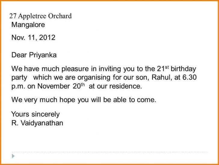 72 standard birthday invitation letter