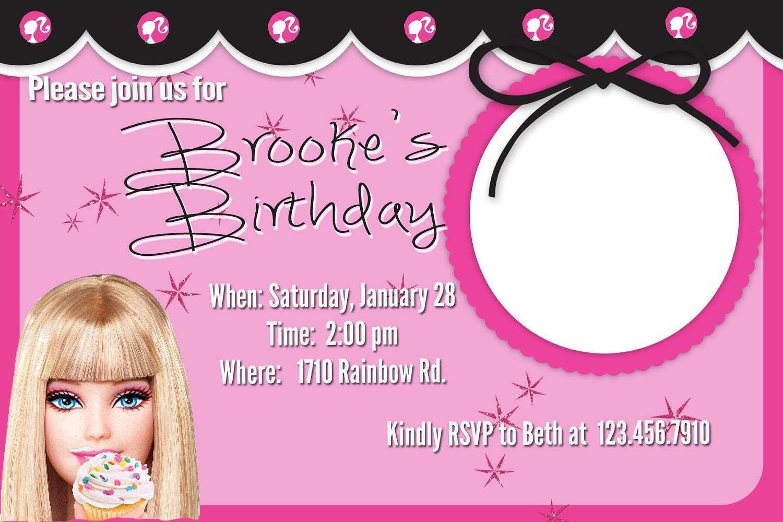 for birthday invitation barbie template