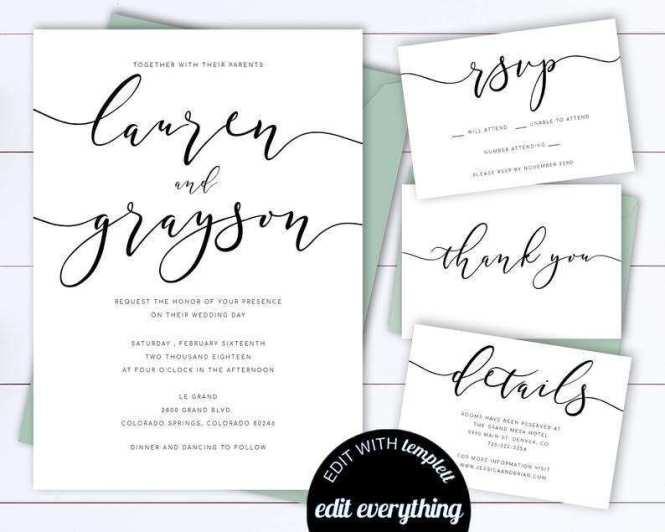91 Printable Wedding Invitation