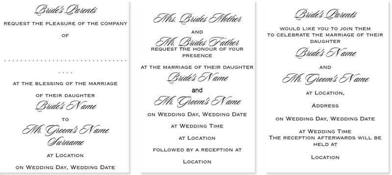 of wedding invitation card format