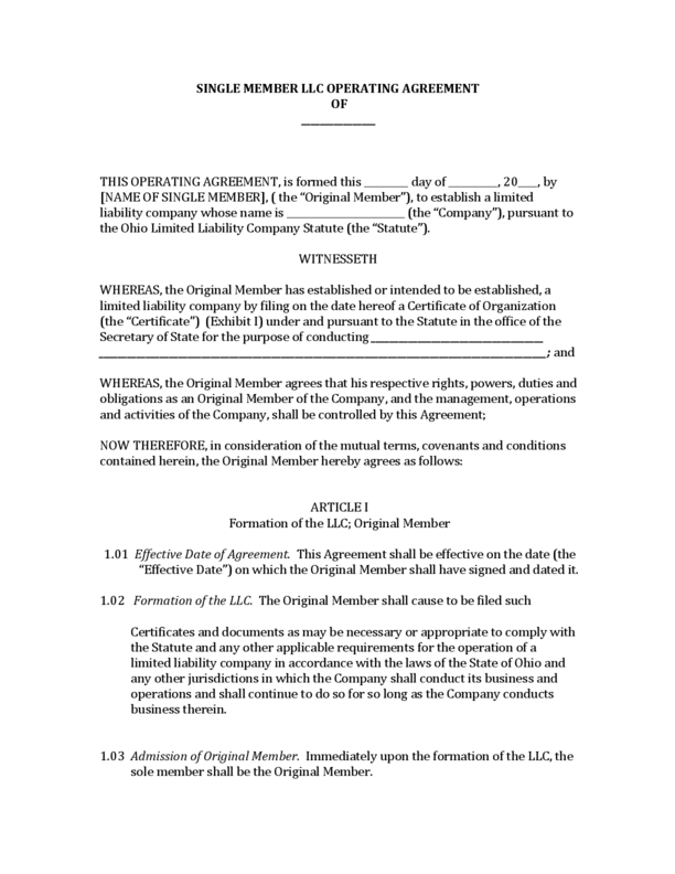Download free limited liability company (llc) operating agreements which allow the owners, known as 'members', to create a. Ohio Single Member Llc Operating Agreement Legalforms Org