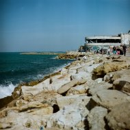 View of the the former Tel Aviv dolphinarium is now the Clara Club, a fashionable club.