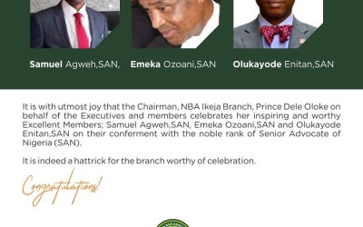 NBA Ikeja Celebrates Its Members On Their Conferment as SAN