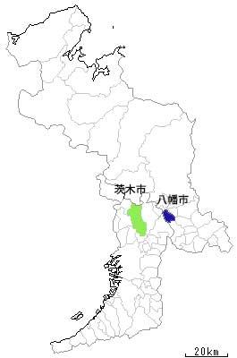 茨木市から八幡市までの位置関係