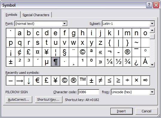Inserting Symbols And Special Characters Legal Office Guru