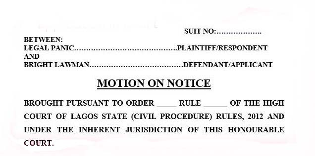 how to move an application in a court in nigeria legal panic