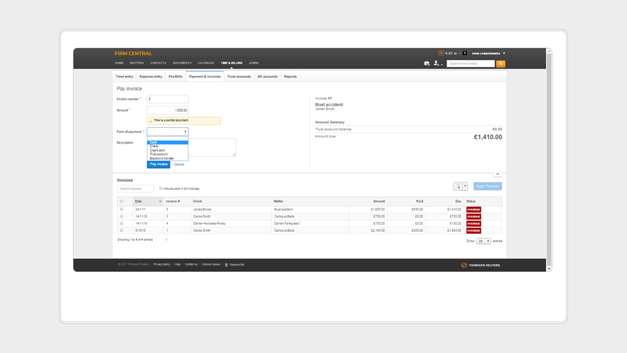 Legal practice management software   Firm Central   UK Legal     Firm Central screenshot   Invoice payments   Time and billing
