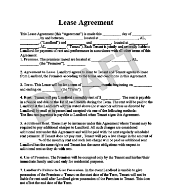 Residential Lease Agreement Form Free Al Legal