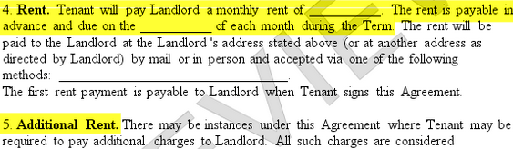 Lease Agreement Form Section