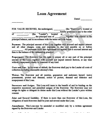 simple loan template