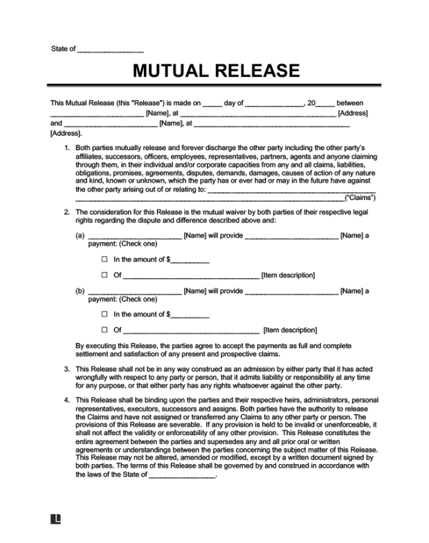 Final Release Form Car Accident