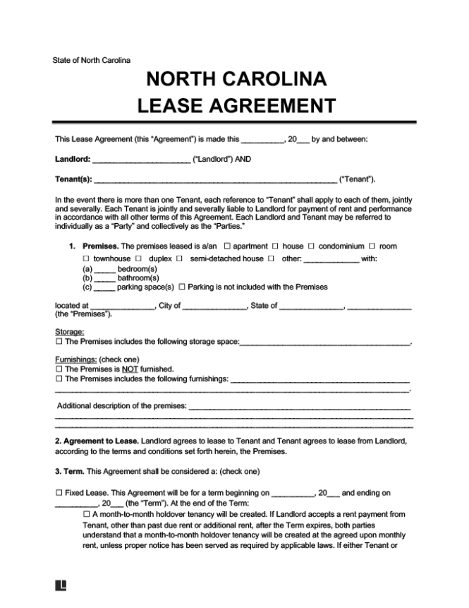 North Carolina Residential Lease