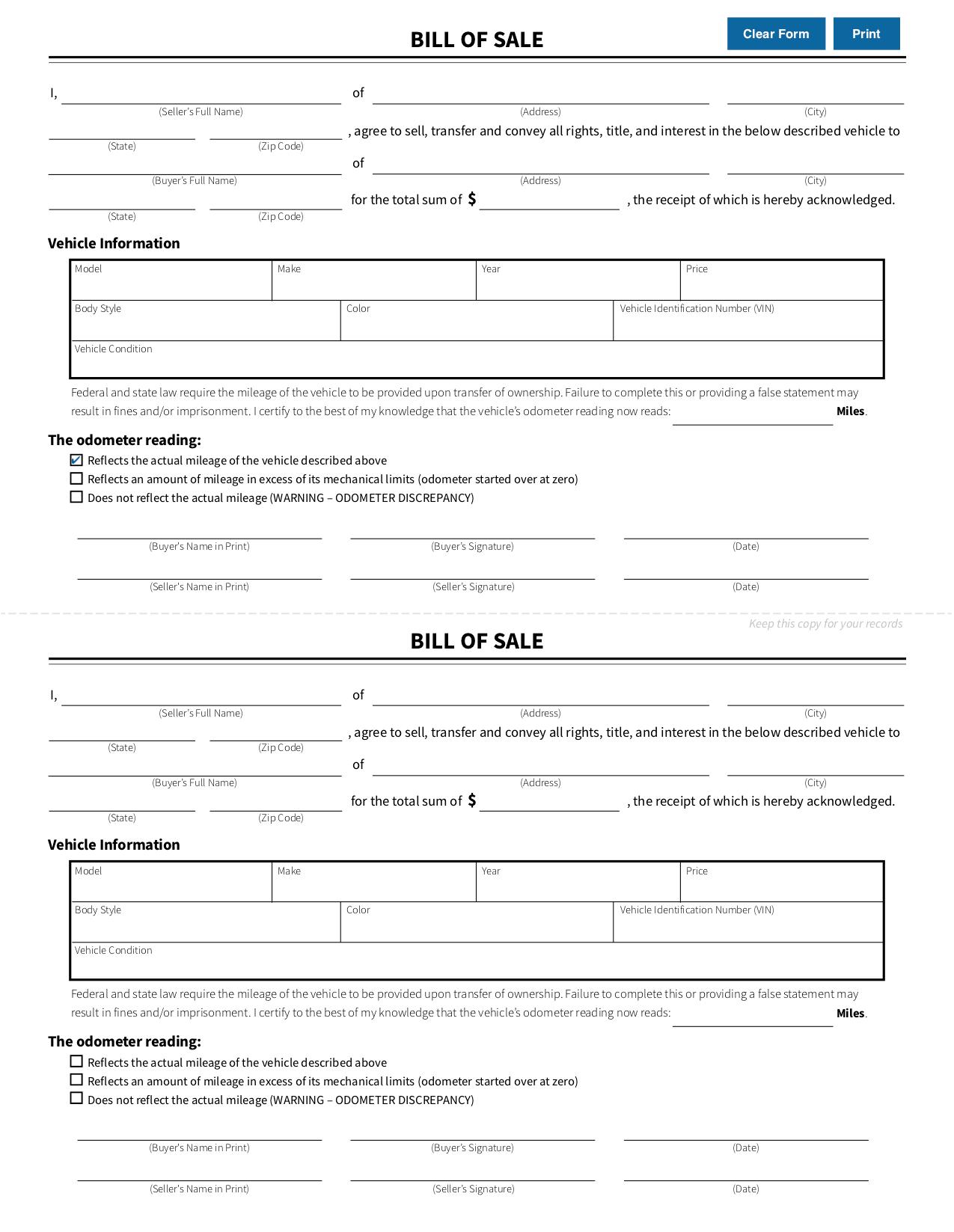 Automobile Bill Of Sale