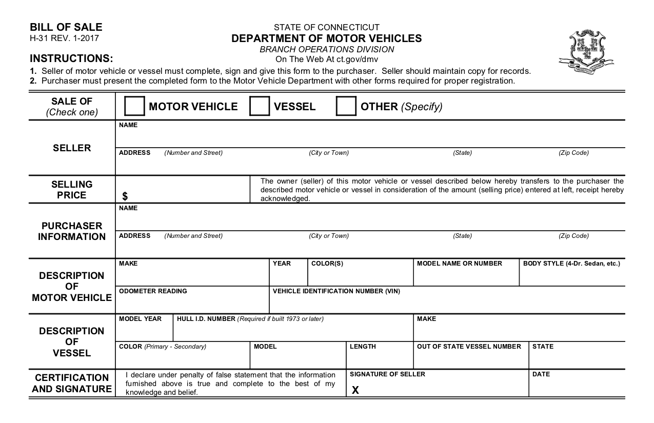 Free Connecticut Bill Of Sale Form