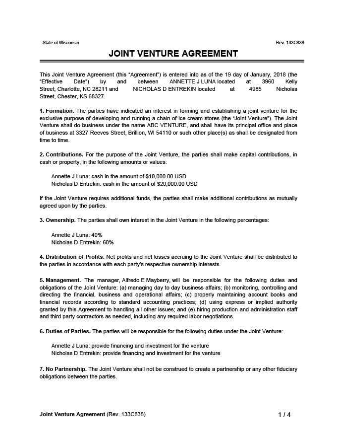 """This joint venture agreement (the """"agreement"""" or this """"joint venture agreement""""), is made and entered into as of document.createddate, by and. Free Joint Venture Agreement Template Examples Legal Templates"""