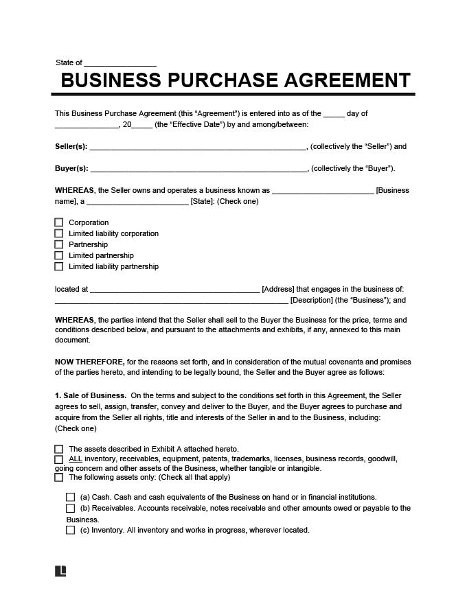 This agreement is purposed for finalizing the sale but it will not end the contract. Free Business Purchase Agreement Contract Template Pdf